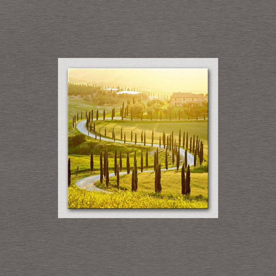 Eurographics Glasbild mit Aluminium »Landscape in Tuscany«, 50/50cm in grün/silber