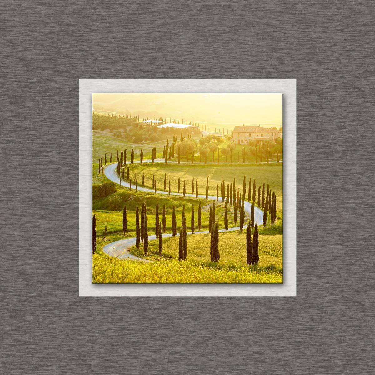 Eurographics Glasbild mit Aluminium »Landscape in Tuscany«, 50/50cm