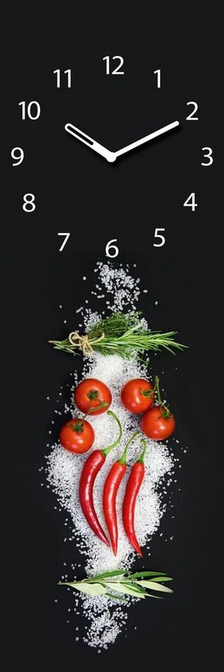 Eurographics Glasuhr »Cucina Italiana Pomodori«, 20/60cm in schwarz/rot
