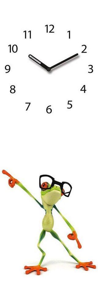 Eurographics Glasuhr »Dancing Frog«, 20/60cm in weiß/grün