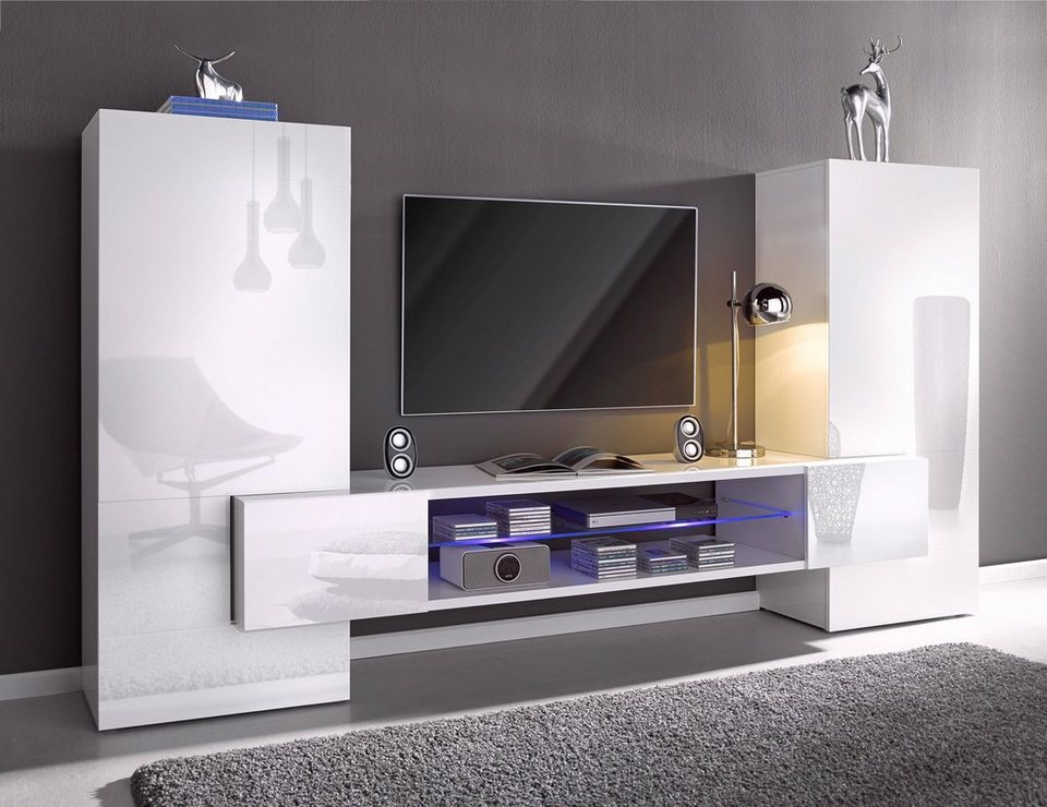 tv wand wei hochglanz. Black Bedroom Furniture Sets. Home Design Ideas