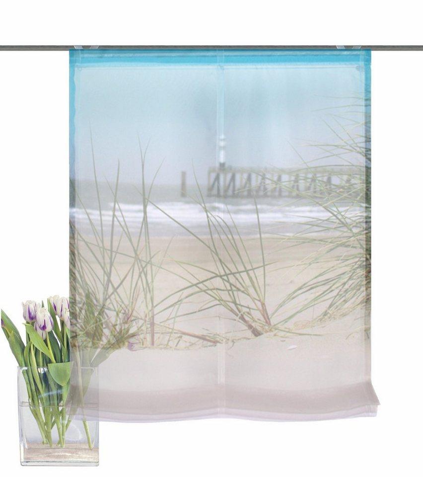 Schiebegardine, Home Wohnideen, »SEEBRÜCKE«, mit Klettband (1 Stück mit Zubehör) in blau