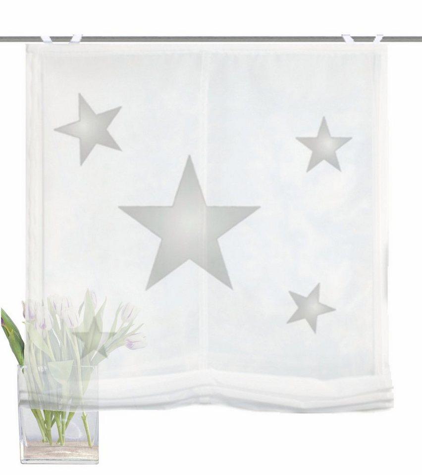 Raffrollo, Home Wohnideen, »STARS«, mit Hakenaufhängung in grau