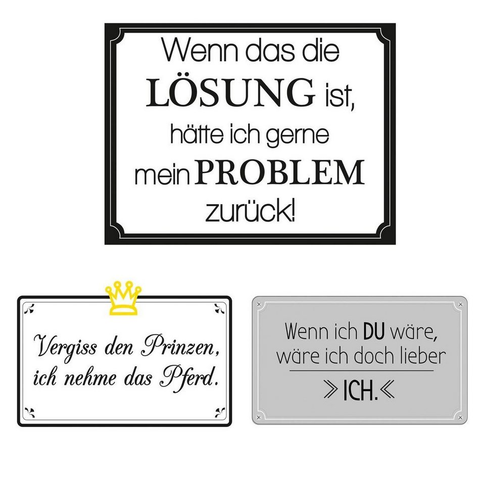 Eurographics Wandtattoos »Funny Sayings«, 6er Set in weiß/schwarz