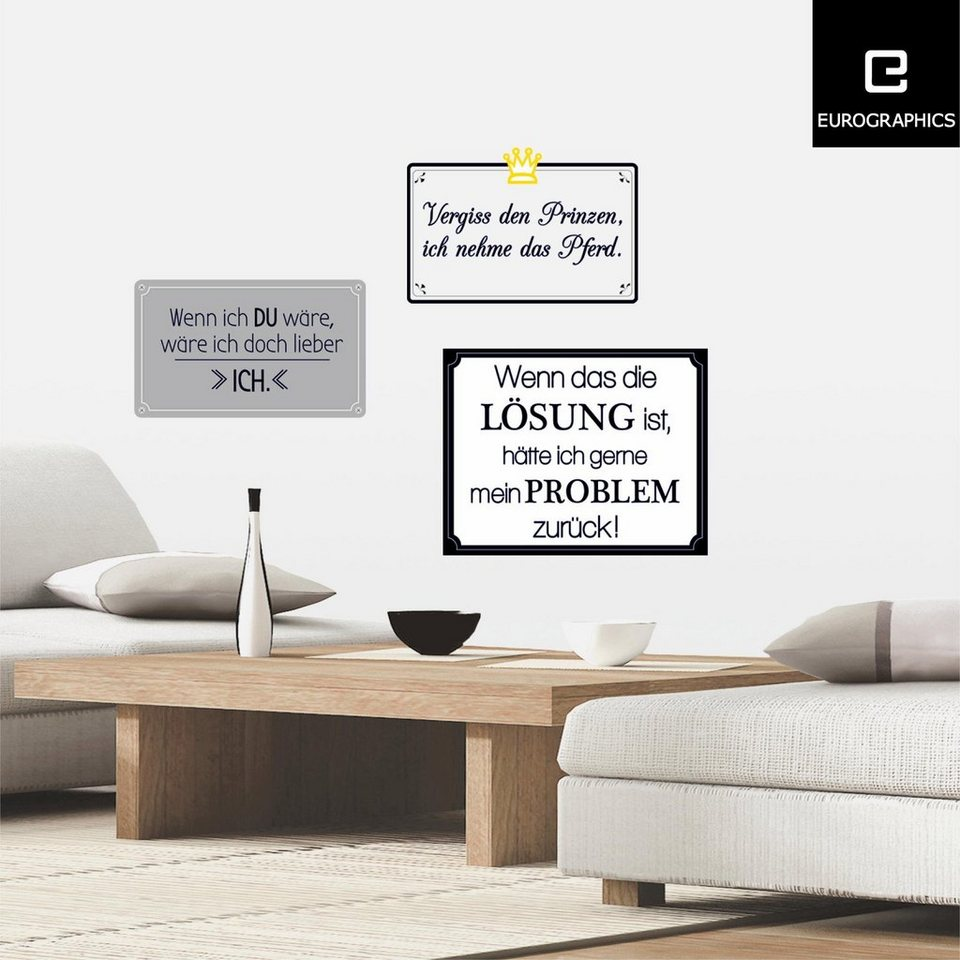 Eurographics Wandtattoos »Funny Sayings«, 6er Set in weiß/schwarz