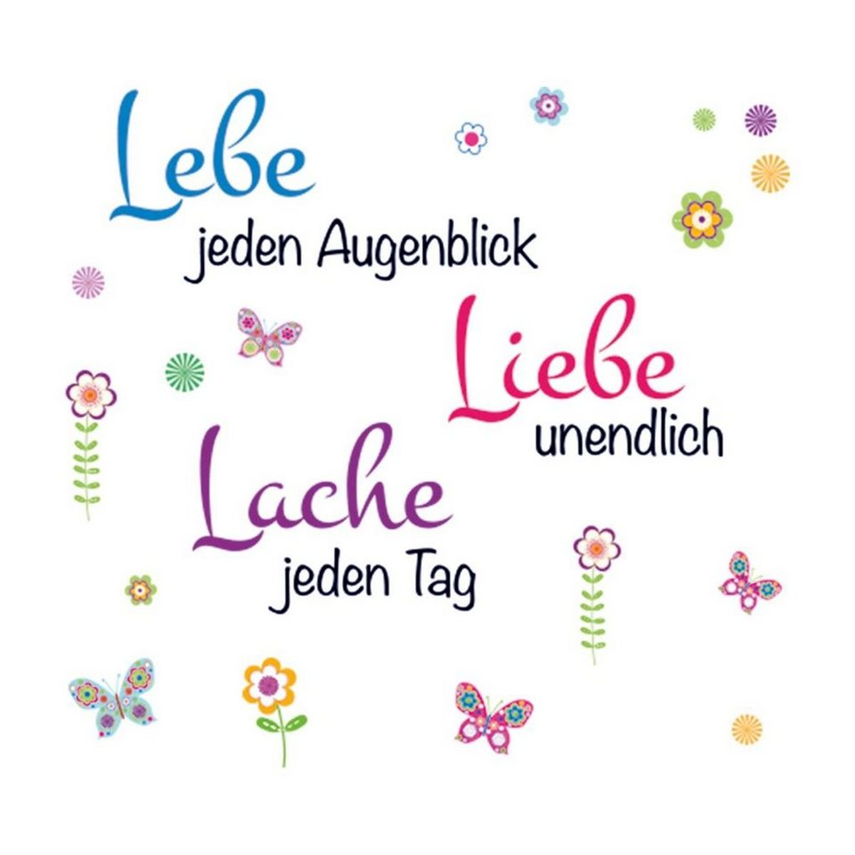 Eurographics Wandtattoos »Live Laugh Love«, 90/70cm in bunt