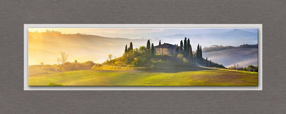 Eurographics Glasbild mit Aluminium »Tuscany At Sunrise«, 125/50cm