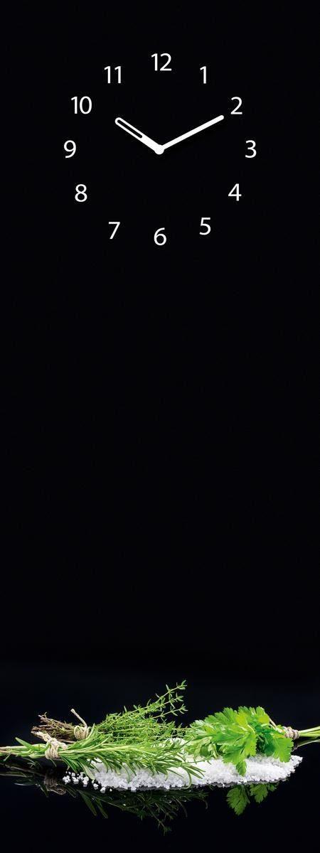 EUROGRAPHICS Glasmagnettafel mit Uhr »Black Mirror Herbs«, 30/80cm