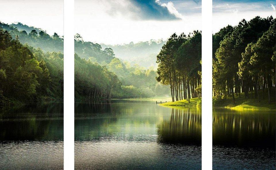 Eurographics Glasbild »Pang Oung /«, 2x 30/80 cm + 60/80cm in grün