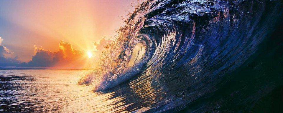 Eurographics Glasbild »Tropical Sunset Wave«, 125/50cm in blau/orange
