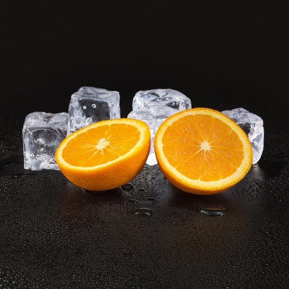 Eurographics Glasbild »Black Orange & Cubes«, 20/20cm in schwarz/orange