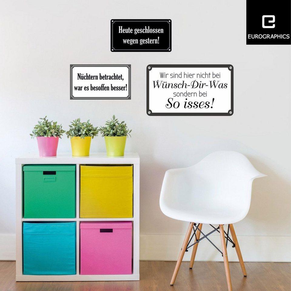 Eurographics Wandtattoos »Funny Quotations«, 6er Set in weiß/schwarz