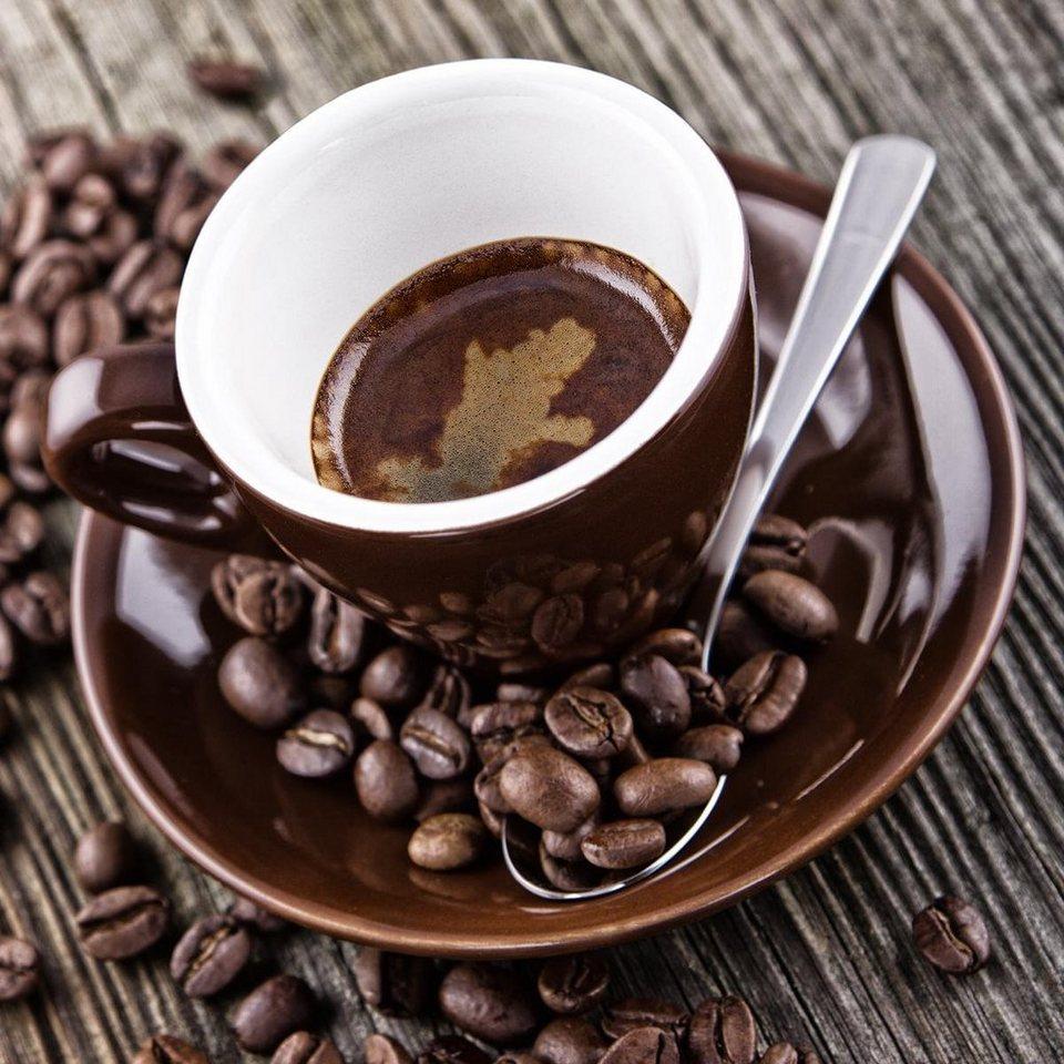 Eurographics Glasbild »Hot Brown Coffee & Beans«, 30/30cm in braun