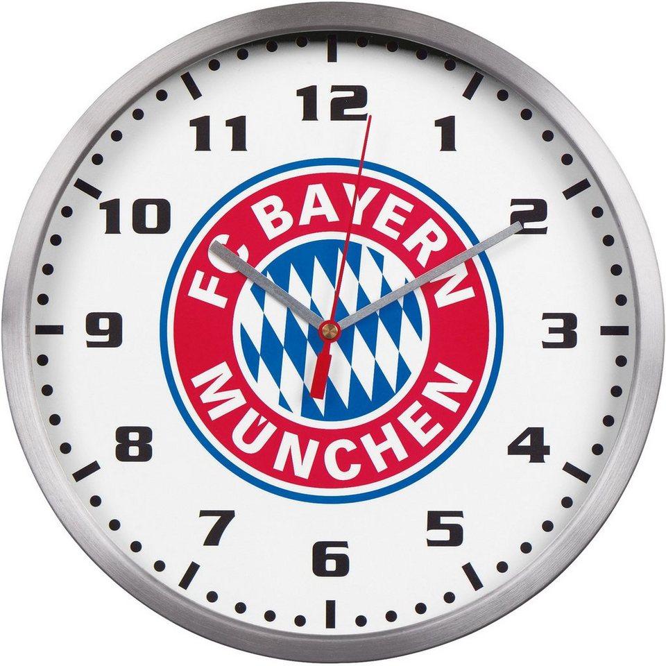 FC Bayern München Wanduhr, »18445« in silberfarben