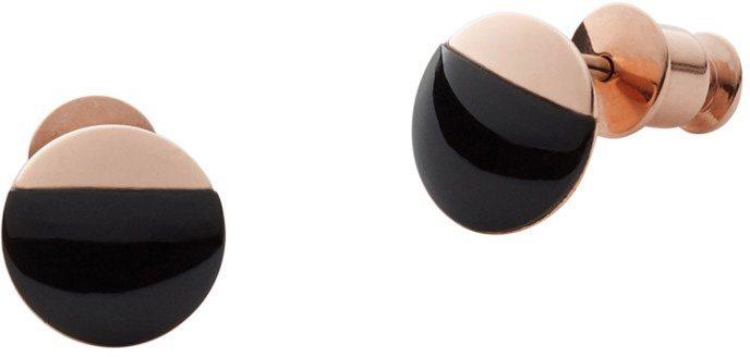 Skagen Paar Ohrstecker mit Onyx, »Ellen, SKJ0887791« in roségoldfarben-schwarz