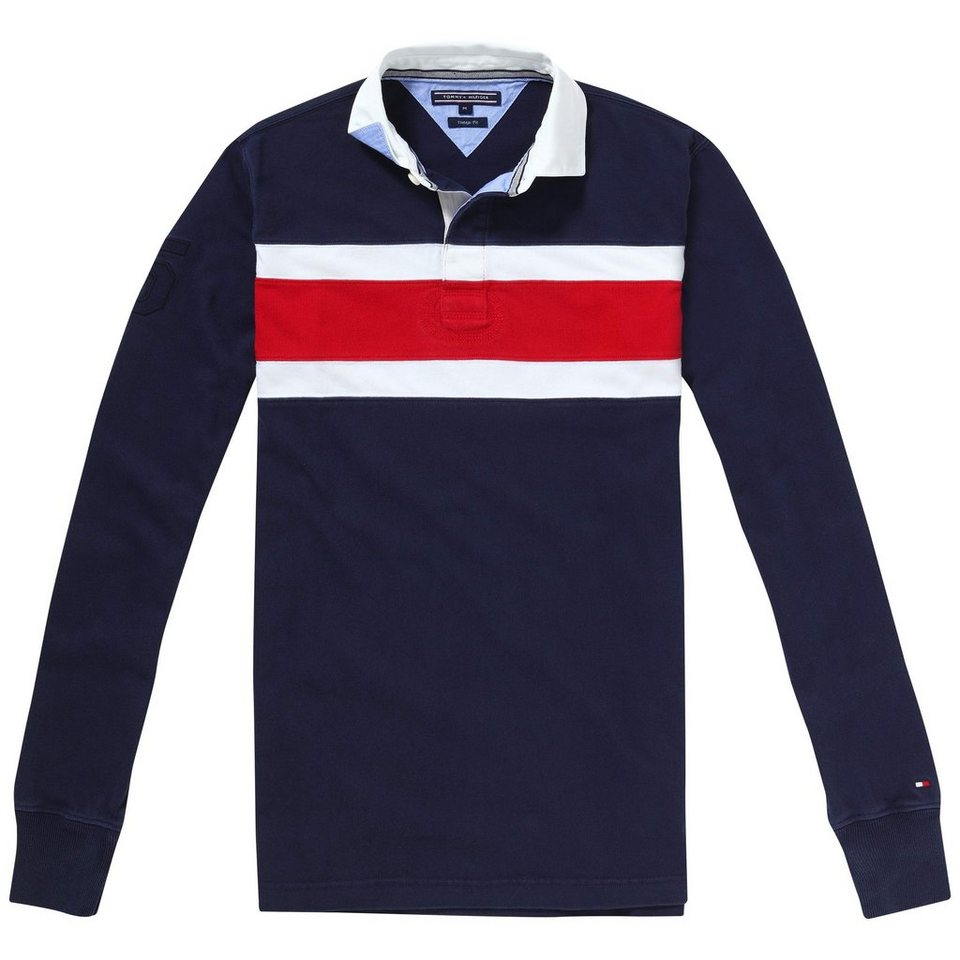 Tommy Hilfiger Poloshirts (langarm) »TOM PCD STP RUGBY L/S VF« in navy