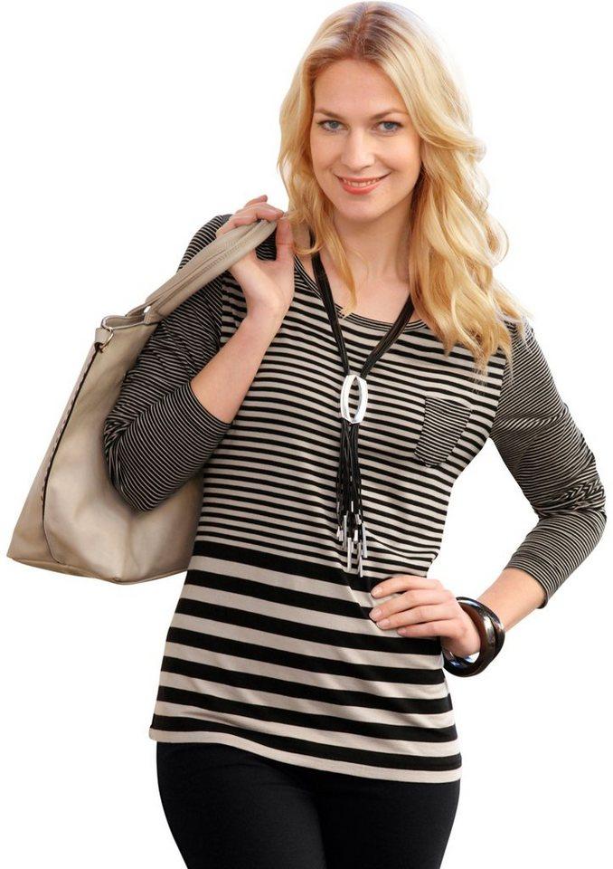 Ambria Shirt im frechen Streifen-Dessin in taupe-schwarz-gestreift