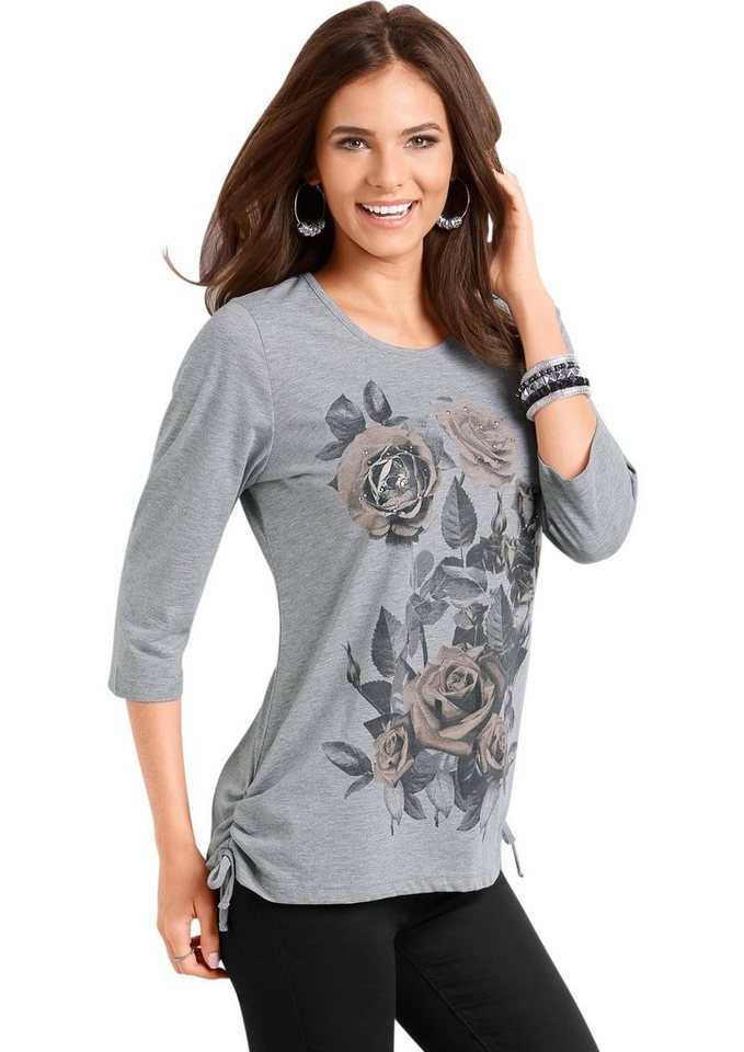 Classic Basics Shirt mit platziertem Rosen- und Blätter-Druck in grau-meliert