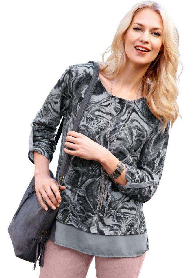 Ambria Pullover mit transparentem Chiffon dekoriert in grau-gemustert