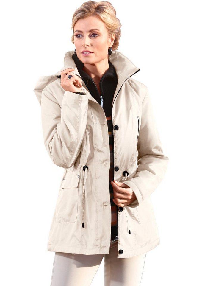 Classic Basics Jacke mit abnehmbarer Kapuze in stein