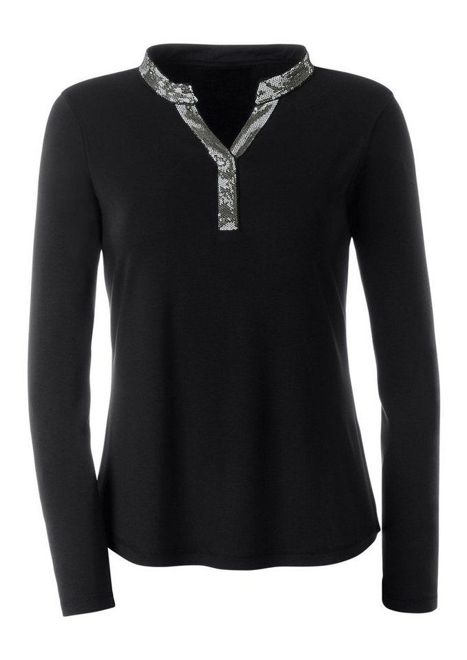 Lady Shirt mit Paillettenbesatz am Ausschnitt in schwarz