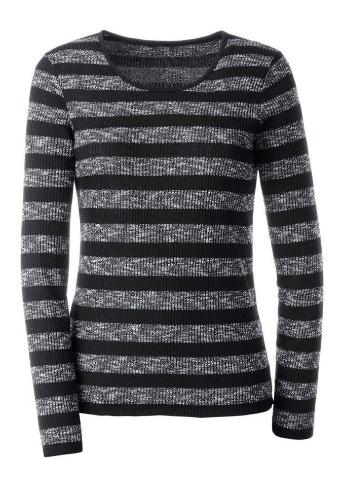 Ambria Pullover schimmerndem Glanzgarn veredelt in schwarz-gestreift