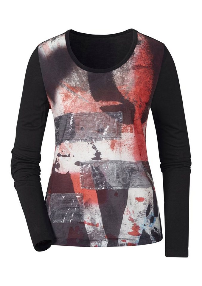 Ambria Shirt mit Druck auf dem Vorderteil in schwarz-gemustert
