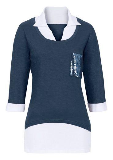 Classic Basics Shirt mit weißem Einsatz an Ausschnitt