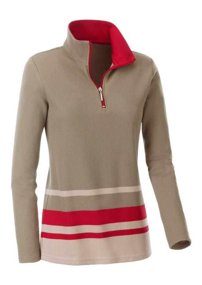Collection L. Shirt mit sportivem Troyerkragen in taupe-rot-gestreift