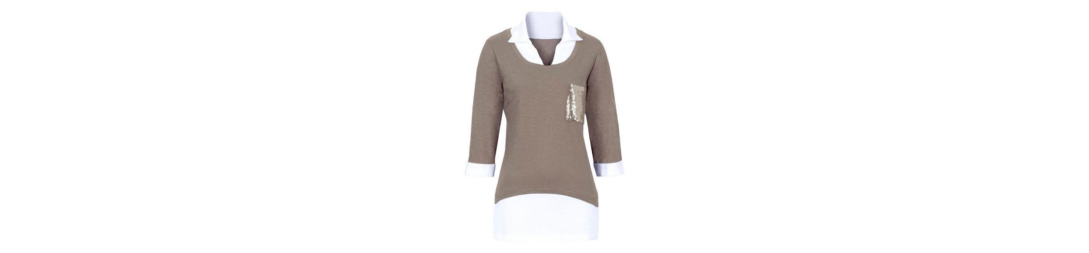 Basics Classic Shirt Classic an Ausschnitt Einsatz wei脽em Basics mit Sqq7zwE