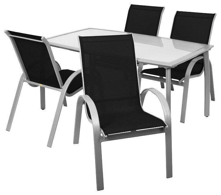 5-tlg. Gartenmöbelset »Amalfi«,4 Stapelsessel,Tisch 150x90 cm,Alu/Textil,silberfarben/schwarz in schwarz/silberfarben