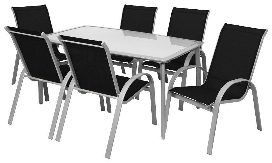 7-tlg. Gartenmöbelset »Amalfi«,6 Stapelsessel,Tisch 150x90 cm,Alu/Textil,silberfarben/schwarz in silberfarben/schwarz