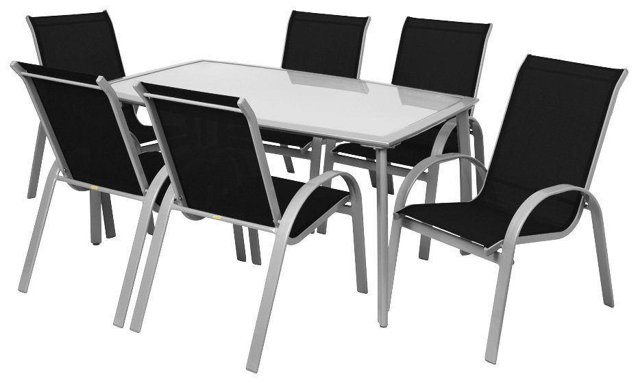 Gartenmöbelset »Amalfi«, 6 Stapelsessel, Tisch 150x90 cm, Alu/Textil