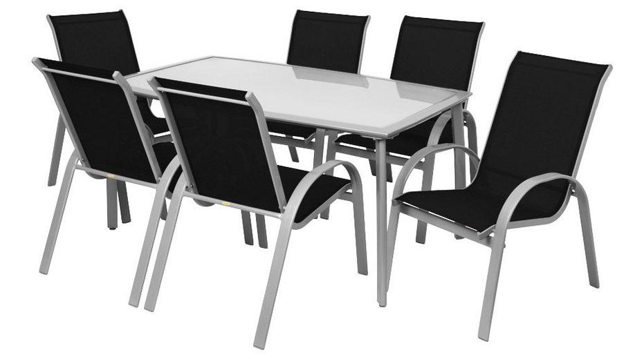 7-tlg. Gartenmöbelset »Amalfi«,6 Stapelsessel,Tisch 150x90 cm,Alu/Textil,silberfarben/schwarz