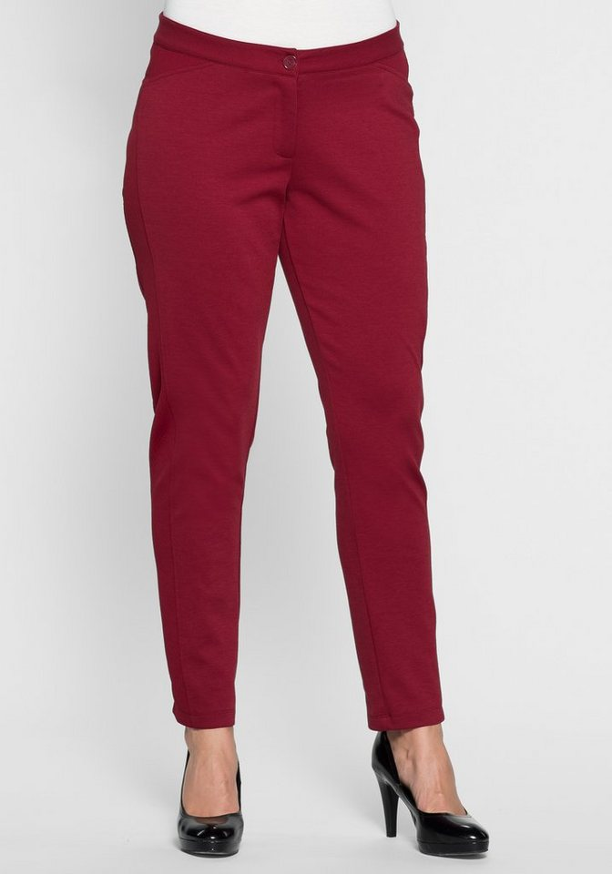 sheego Style Schmale Jerseyhose mit seitlichen Details in bordeaux
