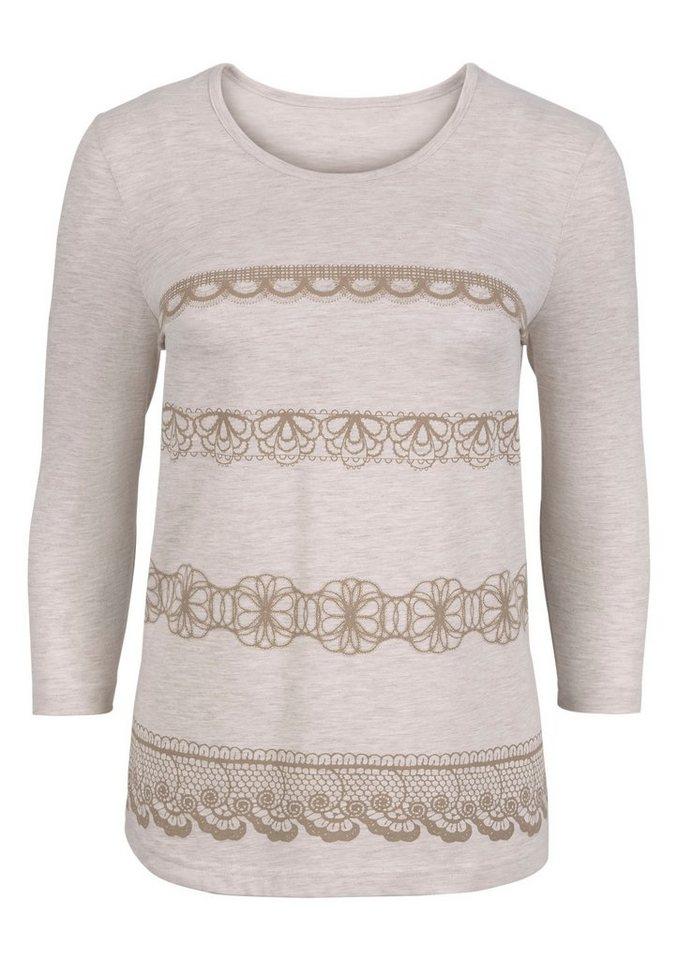 Classic Basics Shirt mit aufgedruckten Spitzen-Bordüren in beige-meliert