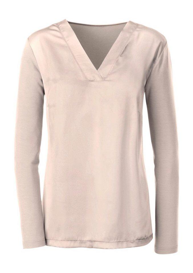 Ambria Shirt mit Vorderteil aus feinem Satin in beige