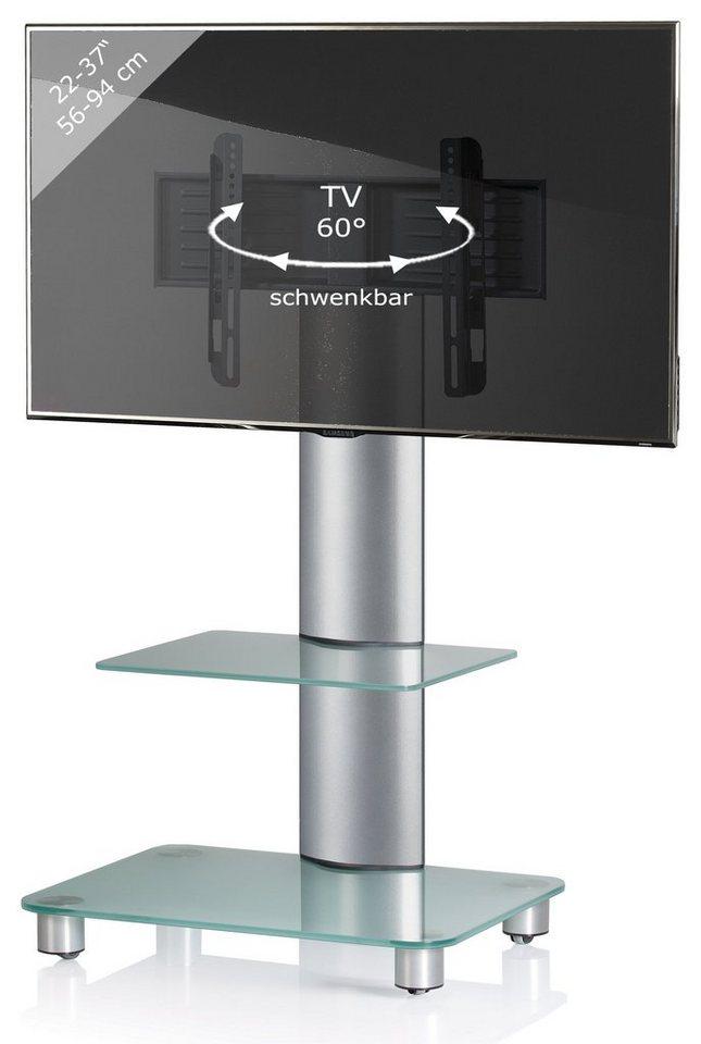 "VCM TV-Standfuß ""Bilano silber"" in Mattglas"