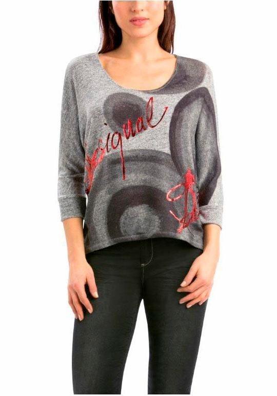 Desigual Langarmshirt »Tina« mit glänzendem Schriftzug in grau-meliert