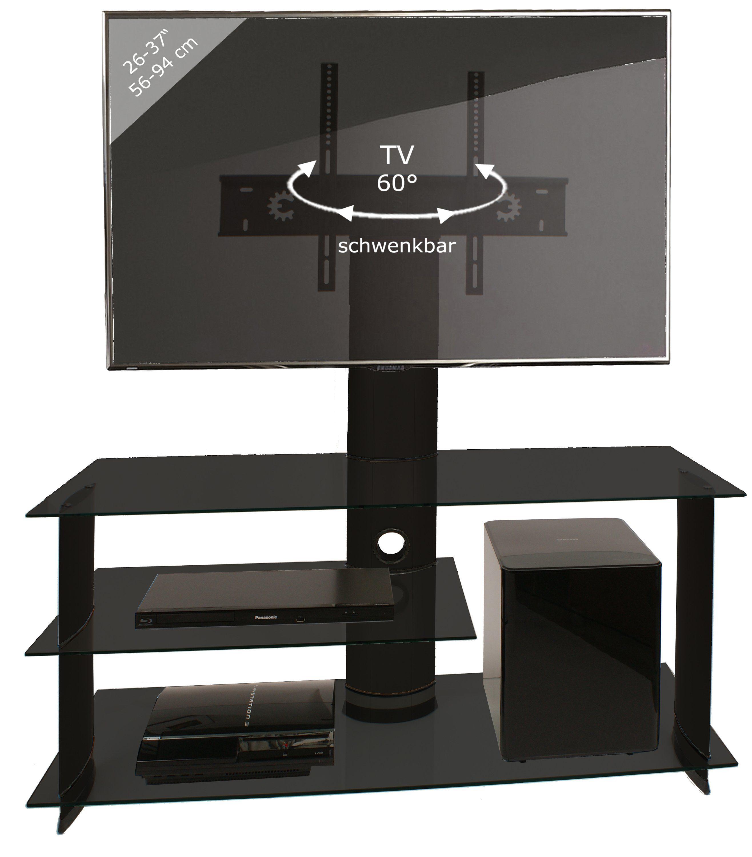 "VCM TV-Möbel ""Bulmo"" Schwarz mit TV-Halter / LCD Rack, LED Tisch Alu"