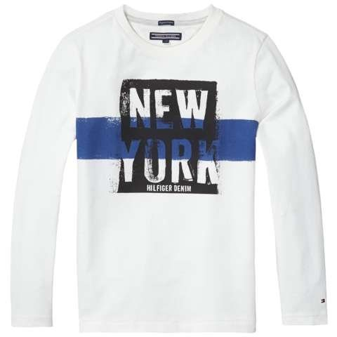Tommy Hilfiger T-Shirt (langarm) »NY COLORBLOCK CN TEE L/S« in Snow White