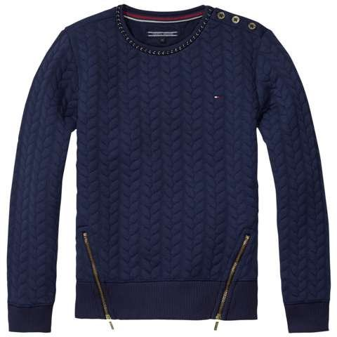 Tommy Hilfiger Sweatshirt »CABLE QUILTED CN HWK L/S« in Navy Blazer