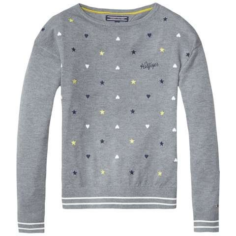 Tommy Hilfiger Pullover »PLAYING HEARTS BN SWEATER L/S« in DK Grey Heather