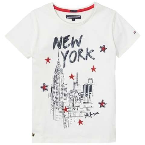 Tommy Hilfiger T-Shirt (kurzarm) »NEW YORK CN KNIT S/S« in Snow White