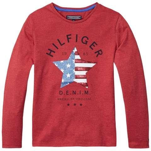 Tommy Hilfiger T-Shirt (langarm) »AMERICANA CN KNIT L/S« in Chili Pepper