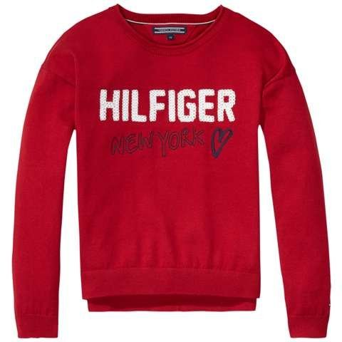 Tommy Hilfiger Pullover »EMBRO CN SWEATER L/S« in Chili Pepper