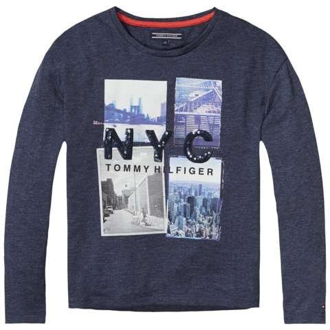 Tommy Hilfiger T-Shirt (langarm) »NYC PHOTO CN KNIT L/S« in Navy Blazer