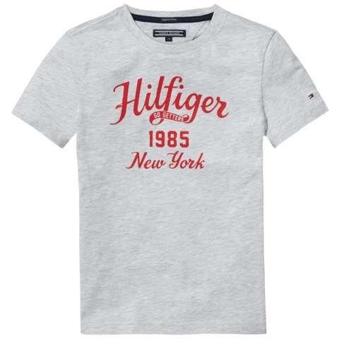 Tommy Hilfiger T-Shirt (kurzarm) »HILFIGER CN TEE S/S« in Light Grey Heather