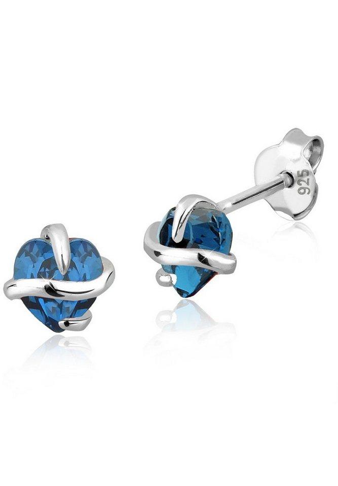 Elli Ohrringe »Herz Swarovski Kristalle Silber« in Blau