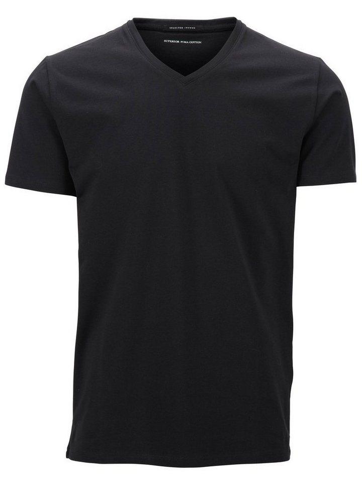 Selected V-Ausschnitt T-Shirt in Black